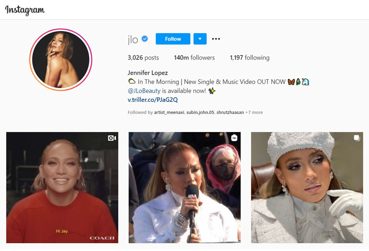 Most followed accounts on Instagram 2020